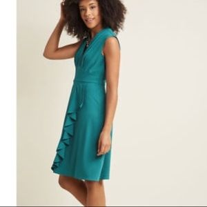 V-Neck Ruffle Dress in Teal